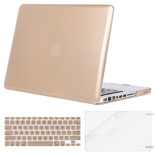 MOSISO Plastic Hard Shell Case & Keyboard Cover & Screen Protector Only Compatible Old MacBook Pro 13 Inch (Model: A1278, with CD-ROM), Release Early 2012/2011/2010/2009/2008, Gold