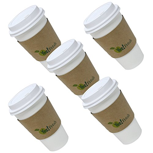 White Eco-friendly Paper Hot Coffee Cup with Cappuccino Lids and Tan Cup Sleeves ,16 Oz, 50 Set.