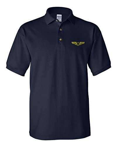 Air Force Pilot Badge - Air Force Pilot Badge Embroidery Design Adult Cotton Short Sleeve Polo Shirt Navy Large