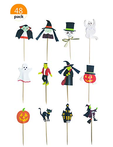 Lauren 48 Pcs Halloween Party CupCake Decorative Toppers Cake Decorating Tools Party Favors -