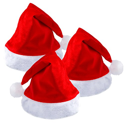 VeMee 3PCS Christmas Santa Hat Red &White Santa Xmas Hat Adults Children Christmas Costume Headwear Party Supplies Hat Holiday Cosplay Costumes Hat