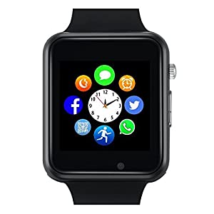 Bluetooth Smart Watch - Wzpiss Smartwatch Touch Screen Wrist Watch with Camera/SIM Card Slot Compatible with iOS iPhones Android Samsung for Kids Women and Men