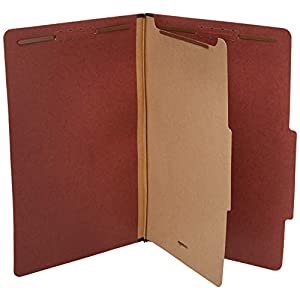 "AmazonBasics Pressboard Classification File Folder with Fasteners, 1 Divider, 1.75"" Expansion, Legal Size, Red (10 Pack)"