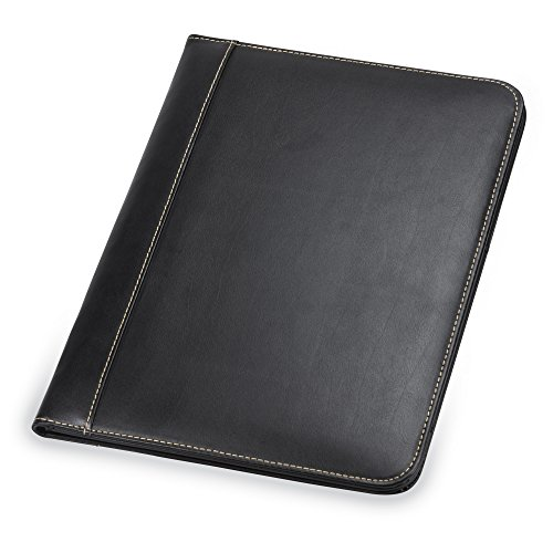 Samsill 71710 Contrast Stitch Leather Padfolio – Lightweight & Stylish Business Portfolio for Men & Women – Resume Portfolio, 8.5 x 11 Writing Pad, Black
