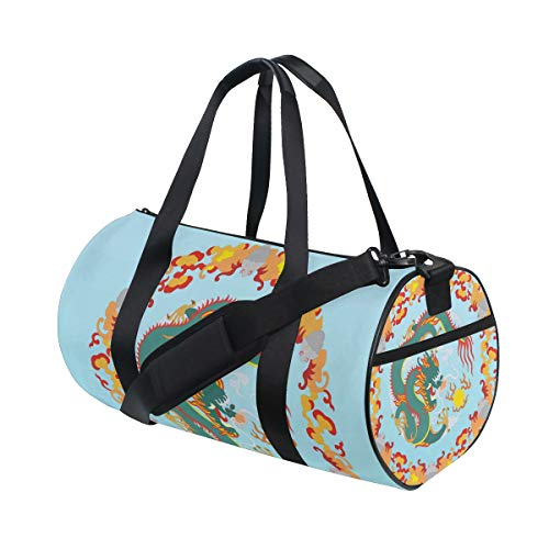 - MALPLENA Chinese Dragon Circle Drum Gym Duffel Bag Women Travel Bag