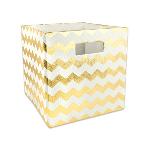 DII Hard Sided Collapsible Fabric Storage Container for Nursery, Offices, & Home Organization, (11x11x11) - Chevron Gold