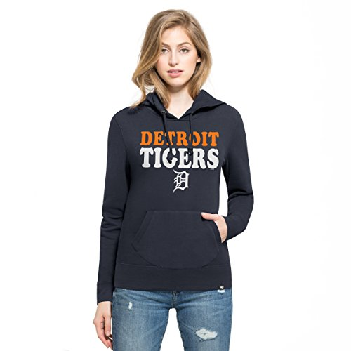 Tigers Womens Hoodie Sweatshirt (MLB Detroit Tigers Women's '47 Headline Pullover Hoodie, Fall Navy, Medium)