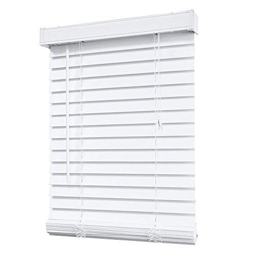 HDC White 2-1/2 in. Premium Faux Wood Blind – 52 in. W x 48 in. L (Actual Size – 51.5 in. W x 48 L) (1)