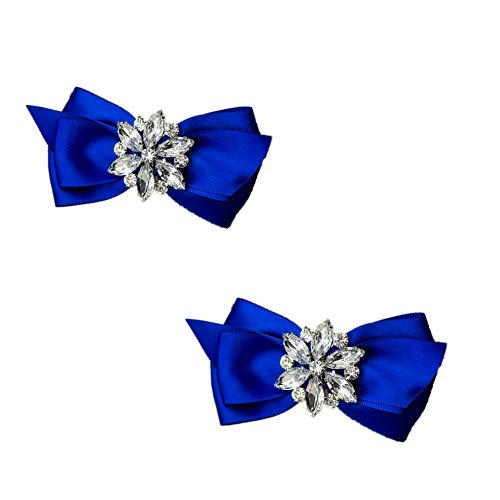 Douqu Rhinestone Crystal Wedding Bridal Shoe Bow Boots Clips detachable shoes buckle Shoe Decoration Charms Pair Jewelry (Blue)