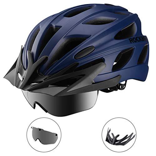 ROCK BROS Bike Helmet for Men Women Cycling Helmet with Removable Goggles & Sun Visor Mountain & Road Bicycle Helmet (Helmet Removable Man With Iron)