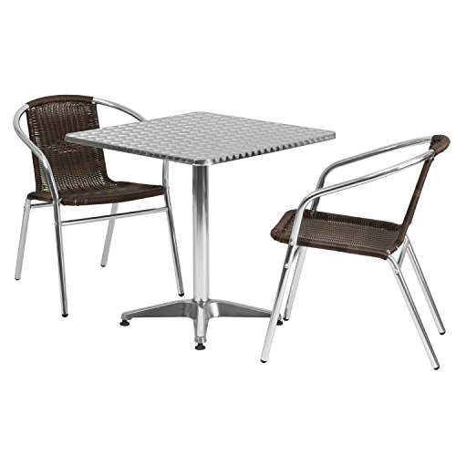 Flash Furniture 27.5'' Square Aluminum Indoor-Outdoor Table Set with 2 Dark Brown Rattan Chairs