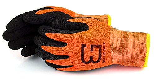 Better Grip Safety Winter Insulated Double Lining Rubber Coated Work Gloves, 3 Pairs/ Pack (Large, Hi-Vis Orange)