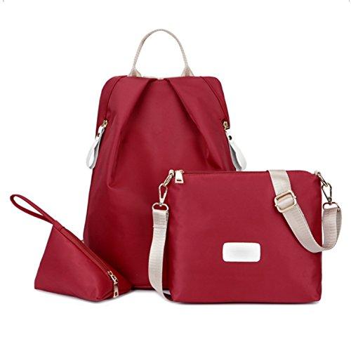 (3pcs) HeHe Mochila De Ligero Impermeable Nylon Bolsa De Hombro Bolsa De Mensajero Bolso cross body bag y monedero Rojo