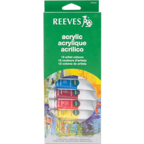 Reeves 12-Pack Acrylic Color Tube Set, 10ml