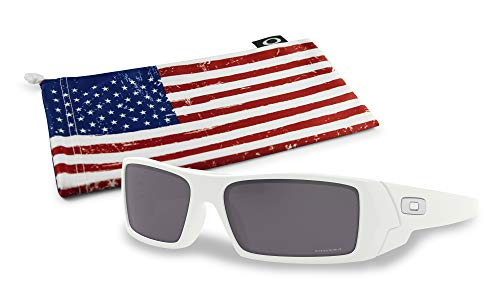 Oakley Gascan Sunglasses (Matte White Frame, Prizm Black Lens) with Country Flag ()