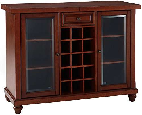 - Crosley Furniture Cambridge Sliding Top Bar Cabinet - Vintage Mahogany