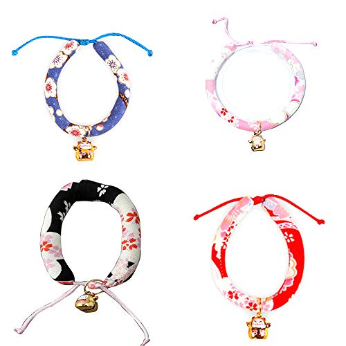 Lupine Cherry Blossom - OTENGD 4PACK Dog Cat Collar Regular Personalized Collars Floral Collection Plum Blossom Cherry Blossoms Japanese Style Soft Touch Comfortable Adjustable,M