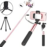 Selfie Stick,Wired Control Extendable Compact Handheld Tripod Mirror HD Rear Camera Long Selfie Stick Compatible with Iphone 8Plus 7 7Plus 6 6S Plus (Rose Gold)