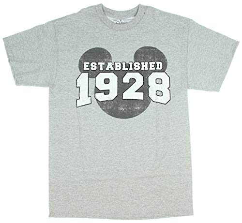 - Mickey Mouse EST. 1928 Vintage Classic Disneyland World Men's Adult Graphic T-Shirt (Heather Grey, Large)