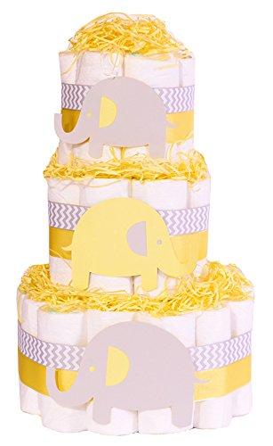 Elefante Bebé Ducha – tarta de pañales – Unisex Neutral amarillo gris regalo Hamper