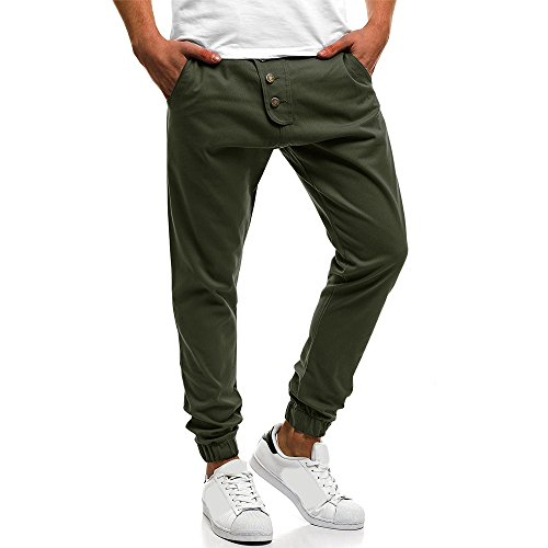 Men 's Casual Pant,Male Fashion Loose Trouser Solid Drawstring Button Sweatpants with Pockets Baggy