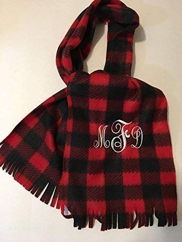 Personalized | Monogrammed | Embroidered | Fleece Scarf | 3 Styles