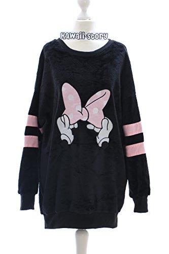 TS-08-1 schwarz Cartoon Schleife Lolita Goth Pullover Sweatshirt flauschig fluffy Harajuku Japan