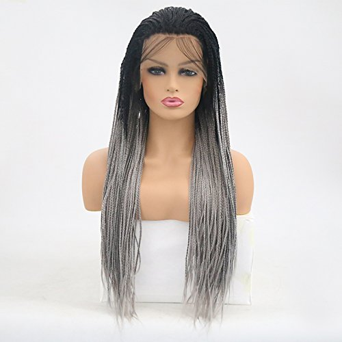 Rongduoyi Ombre Gray Hair Micro Braided Long Synthetic Lace Front Wigs Black Roots Heat Resistant Fiber With Baby Hair For Black Women(24inch, Black/Gray) ()