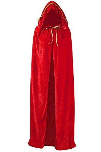 SENSERISE Unisex Long Halloween Hooded Cloak Costume Party Cosplay Velvet Capes (Red-1,XL) -
