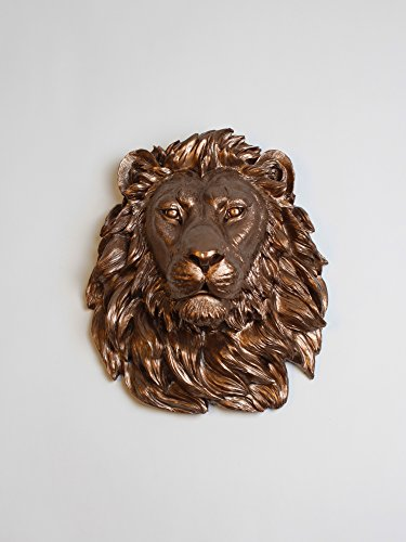 The Mila | Bronze Resin Lion Head | Resin White Faux Taxidermy | Hanging Wall Decor Sculpture | Animal Mounts | Trophy Taxidermy (Bronze Sculpture Lion)