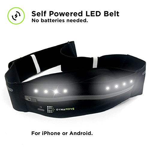 Running belt for Iphone or Android with Motion Powered LEDs - no battery or charging needed. Adjustable perfect fit for Men & Women