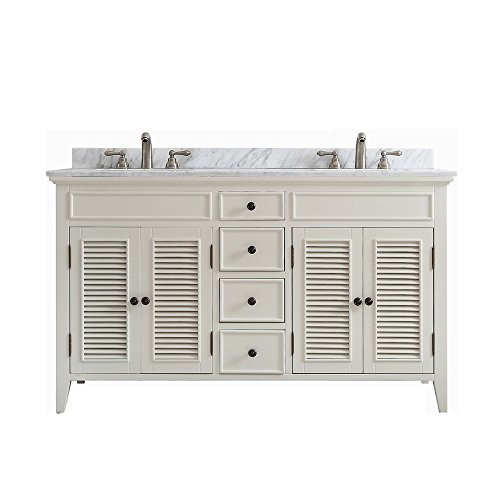 Vinnova 708060-AW-CA-NM Modern Piedmont 60 inch Double Vanity In Antique White with (Piedmont Counter)