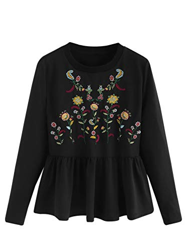 Milumia Women's Plus Size Elegant Long Sleeve Ruffle Hem Embroidered Blouse Top Black-5 2XL