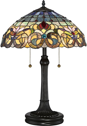 (Quoizel TF3180TVB Lyric Flower Tiffany Table Lamp, 2-Light, 150 Watts, Vintage Bronze (23