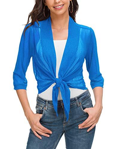 ZHENWEI Women's Knit Cardigan Sweaters 3/4 Sleeve Open Front Shrug Cropped Bolero Dark Blue