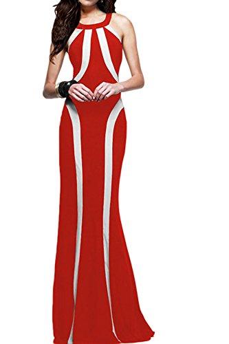 Mujeres Sin Mangas Vestido De Cabestro Vestido De Noche Largo Prom Party Red