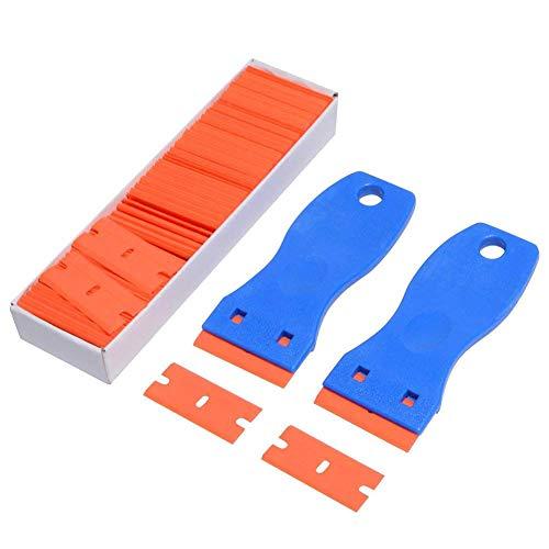 2PCS Plastic Razor Scrapers Knife with Contoured Grip + 100 PCS 1.5 inch Refillable Double Edge Plastic Razor Blades Ideal for Auto Window Tint Vinyl Tool Application by Marsauto