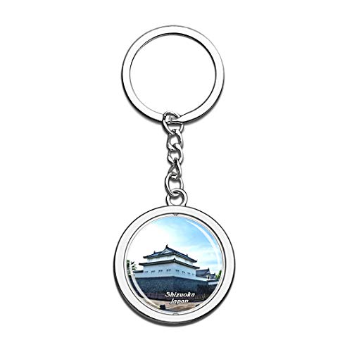 Shizuoka Japan Keychain 3D Crystal Spinning Round Stainless Steel Keychains Travel City Souvenir Key Chain Ring