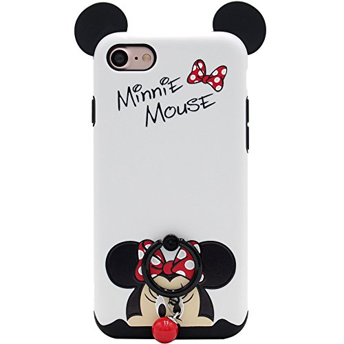 iPhone 7 Case, iPhone 8 Case, MC Fashion Cute Cartoon Mickey Mouse Ears [Ring Grip & Kickstand Series] [Dual-Layer] Hard PC Outer + Soft TPU Inner Protective Case Cover (#1)