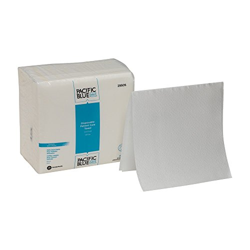 Georgia Disposable Towel - Pacific Blue Select A300 Disposable Patient Care Washcloth by GP PRO (Georgia-Pacific), 29505, 1/4-Fold, White, 55 Cloths Per Pack, 18 Packs Per Case