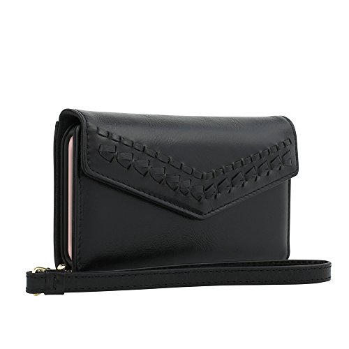 Rebecca Minkoff Wristlet, Whipstitch Tech Wristlet [Credit Card Case] Wallet Case fits both iPhone 8 & iPhone 7 - Black Leather