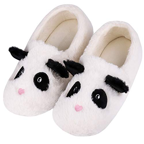 Women's Comfy Faux Bunny Fur Memory Foams Loafer Slippers Fuzzy Plush House Shoes Anti-Skid Rubber Sole (7-8 B(M) US, Lovely Panda) White ()