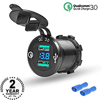 Rydonair Aluminum Dual USB Charger Socket Power Outlet with Digital Voltmeter, Dual QC 3.0 USB Port with Blue LED Voltage Meter