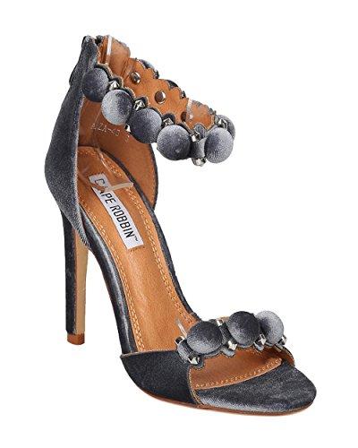 Cape Robbin Dames Fluwelen Pom Pom Stiletto Sandaal - Chic, Formeel, Dans - Spike Enkelband Sandaal - Gf76 Door Grijs
