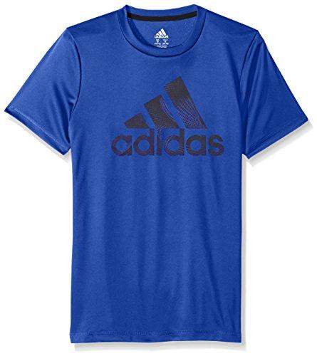 adidas Big Boys' Short Sleeve Logo Tee Shirt, Hi-Res Blue, X-Large