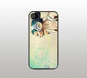 Girl Headphones - Case for Apple iPhone 4 4s - Hard Plastic - Black - Custom Cover - Music