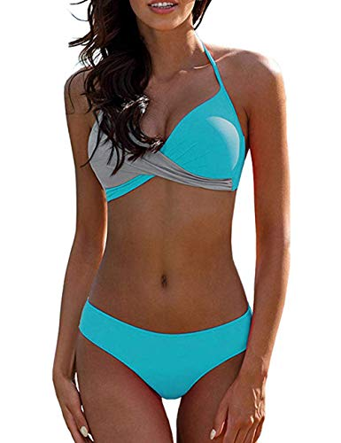 SEBOWEL Lady Colorblock Twist Halter 2 Piece Bikini Swimsuit Bathing Suit Blue Gray M