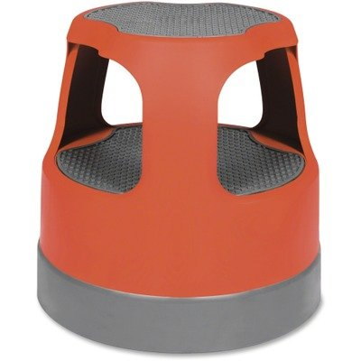 Scooter Stool Round, 15″, Step & Lock Wheels, to 300 lbs, Red