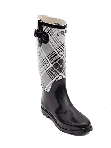 Women Rubber Boots Black White Plaid