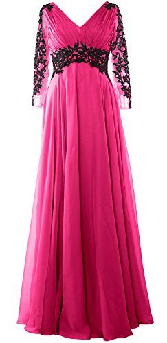 MACloth Women V Neck Mother of the Bride Dress Long Sleeve Formal Evening Gown Fuchsia